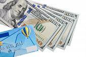banknotes of dollars and credit card
