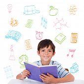 School doodles against cute pupil reading