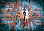 Conceptual image of micro circuit. Security concept