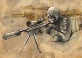 ������, ������: Shooter sniper An Hand Drawn Illustration