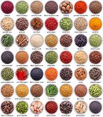 picture of peppercorns  - large collection of different spices and herbs isolated on white background - JPG