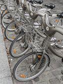 Rental city bike station in Paris, France