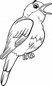 stock photo of nightingale  - Black and White Cartoon Illustration of Funny Nightingale Bird Animal for Coloring Book - JPG