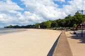 Ryde beach and seafront Isle of Wight with blue sky and sunshine in summer in this tourist town