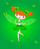 Little clover fairy flying with butterflies. Raster version.