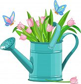 Watering can with bouquet of tulips. Raster version.
