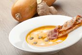 stock photo of ginger bread  - Pumpkin cream soup pur - JPG