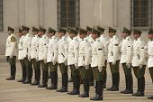 Changing guard ceremony at La Moneda presidential palace Santiago, Chile.