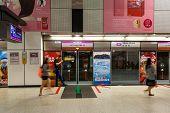 Dhoby Ghaut Mrt Train Station Platform In Singapore