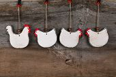 Funny Welcome White Chicken Rooster Country Cottage Kitchen Wood Shape Decoration
