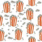 popcorn seamless pattern on white