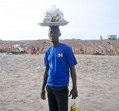 Food Seller On The Beach - Accra, Ghana