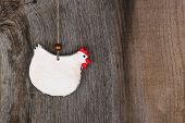 Funny Welcome White Chicken Country Cottage Kitchen Wood Shape Decoration
