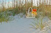 Beach bag in the sand
