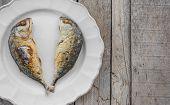 Fried couple mackerels