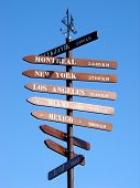 World Signpost against Cloudless Blue Sky