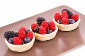 Fresh Ripe Berries In Tartlets