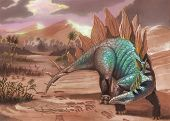 Full color illustration with a green dinosaur