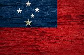 pic of samoa  - The Western Samoa flag Flag painted on old wood texture - JPG