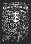picture of passenger ship  - Vintage typography illustration with a quote saying  - JPG