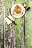 Cup Of Coffee With Office Objects On Wooden Background
