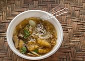 Fish maw in chicken broth in the cup