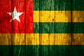 Togo Flag painted on old wood .
