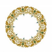 Circular ornament with traditional medieval elements on isolated white