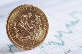 A golden coin on diagram papers, e-commerce - close-up