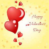Festive Background With Hearts On Valentine's Day. February 14 - Day For All Lovers