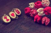 stock photo of love hurts  - Valentine background amazing vintage style handmade flower I love you message on wooden purple pink and red color Valentine day is the day for couple they give lovely gift for lover - JPG