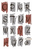 Vector Art Sketched Stylized Grunge Alphabet. Hand Drawn Letters.