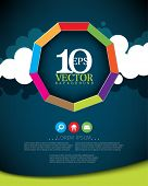 eps10 vector nine sided multicolor frame on paper clouds with icons business background