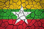 Burma Flag on a cracked ground