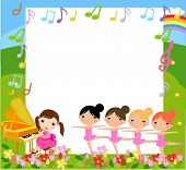 A girl playing piano and four girls dancing