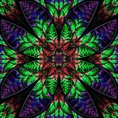 Multicolor Symmetric Pattern Of The Leaves. Collection - Tree Foliage. In Red, Blue, Green Palette.