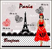 Vector Postcard with France Image. Frenchwoman
