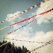 Colorful Praying Flags - Vintage Filter.