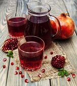 Pitcher And Two Glasses Of Pomegranate Juice