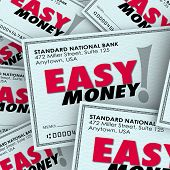 Easy Money words on checks in a pile to illustrate fast, effortless payment or winnings adding to great riches or wealth