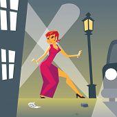 Pin-up Woman in Danger on Stylish Street Background Retro Vintage Cartoon Design Vector Illustration