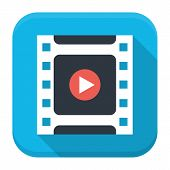 Filmstrip Play Flat App Icon With Long Shadow
