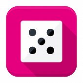 Game Dice Flat App Icon With Long Shadow