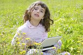 Little Girl On Garden Meadow Notebook Computer
