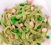 Pasta tagliatelle with green peas