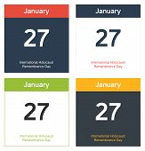 image of freemason  - 4 isolated calendar sheets for 27th January  - JPG