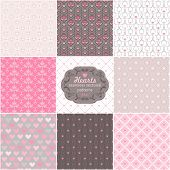 Collection geometric seamless patterns of hearts.