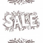 Big Sale Sketch. Hand Drawn Vector Illustration With Twigs, Pine Cones, Plants