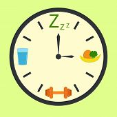 Healthy life concept with clock illustration