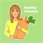 Hand Drawn Illustration. Healthy Eating Secret Of Beauty. Young Beautiful Woman Holding A Bag Of Fru